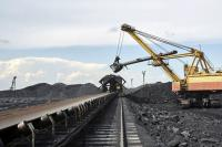 Coal transportation on the conveyer belt, Russia, Kuzbass, extractive industry